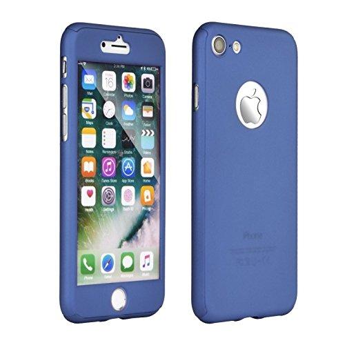 Pack coque 360° (full body) face avant et arrière + verre trempé , couleur bleu, Iphone 5/5C/5S/SE