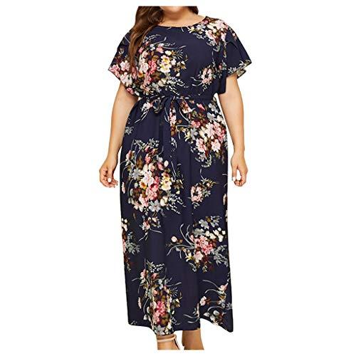 iYmitz Damen Übergröße Maxikleid Elegant V-Ausschnitt Kurzarm Kleider mit Blumen Pailletten Abend Party Netzkleid(X3-Marine,EU-48/CN-2XL) (Ebay Kleider)