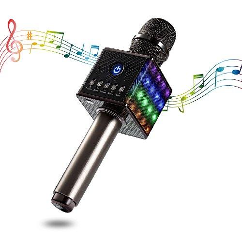 Apestool Bluetooth Karaoke Mikrofon Drahtloses, Dynamische Mikrofone für Ruhige Zeit Party Reise Camping- Grau