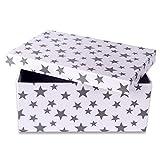 """Geschenkkarton """"Modern Stars"""", weiß mit grauen Sternen, Größe 19,5 x 13,5 x 8,5 m - Geschenkbox in 6 Größen erhältlich"""