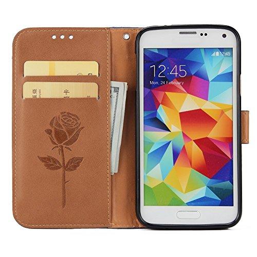 EKINHUI Case Cover Gemischte Farben Rose Blume matt Premium PU Leder Brieftasche Stand Case Cover mit Lanyard & Card Slots für Samsung Galaxy S5 ( Color : Gold ) Brown