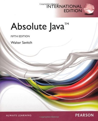 Absolute Java by Walter Savitch (2012-06-07)