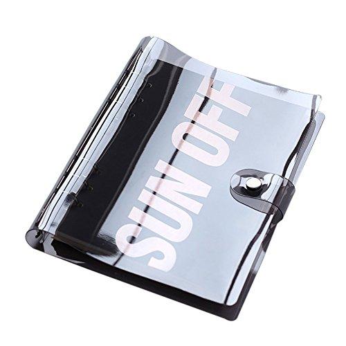 hossty Standard 6Löcher rund Ring PVC transparent rainbow schwarz Binder Cover Protector für A5/A6loseblattwerken Notizbuch Refill Ordner Einheitsgröße Black A5