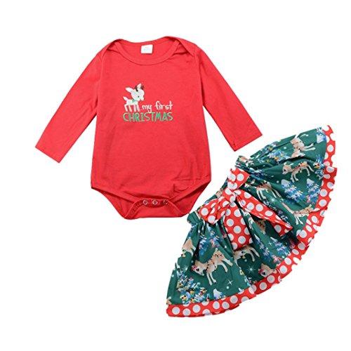 OVERDOSE Neugeborenes Baby Langarm My First Christmas Brief Hirsch Drucken Romper Strampler +Tutu Rock Weihnachten Outfits Kleidung Set(12 Monate,A-Rot) (Baby Olaf Kostüm 9 Monate)