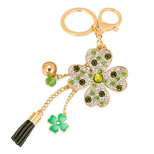 BIGBOBA Glück Vier Leaf Clover Schlüsselanhänger, Schlüsselanhänger mit Anhänger Schlüsselanhänger Handtasche grün Kfz-Dekoration -