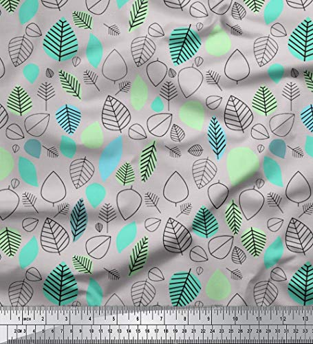 Soimoi Grau schwere Leinwand Stoff Blätter Volkskunst Dekor Stoff gedruckt 1 Meter 58 Zoll breit