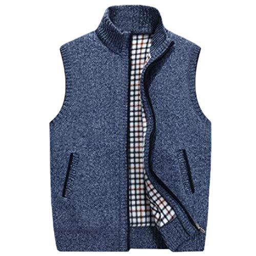 VITryst Men's Knit Full-Zip Sleeveless Thickened Fall Winter Fleece Vest Blue S Stripe Down Vest