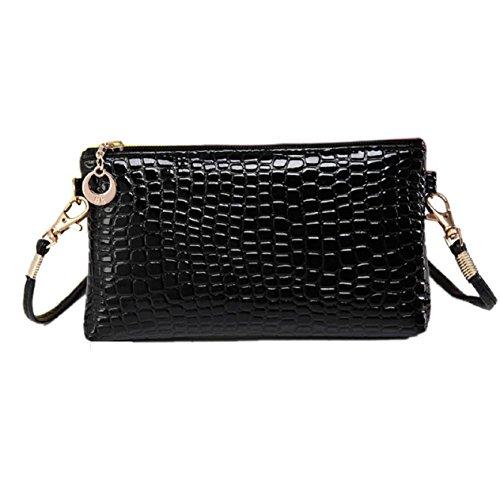 Malloom® Frauen Krokodil-Leder Crossbody Kurier Kupplung Schulter Handtasche (schwarz)