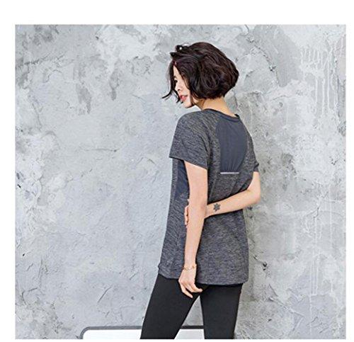 Suzone t-shirt sportiva da donna yoga top allenamento manica corta, tempo libero, fitness, maglietta sportiva da uomo Dark Grey