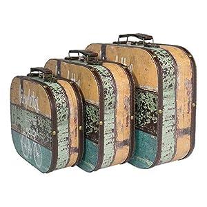 HMF 6431700 Vintage Koffer aus Holz | 3er Set | Versch. Größen | Deko Fahrrad