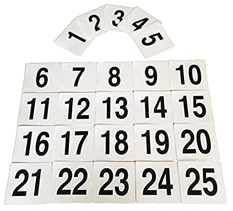 Argon Tableware Table Number Plastic Card Set 1-25. Double sided