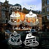 Pegatina de ventana de decoración de Navidad,Cumpleaños torta tienda pegatinas de ventana pastelería panadería restaurante etiqueta de la ventana del cristal etiqueta de pared decorativos-A