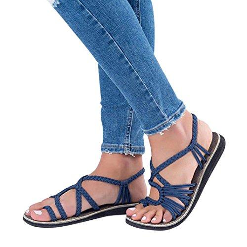 Sandalen Damen,Binggong Frauen Flip Flops Sandalen Sommer Schuhe Hausschuhe Mode Strand Schuhe Hausschuhe Kreuzgurte Geflochtenes Seil Römische Strandsandalen (37 EU, Dunkelblau 3)