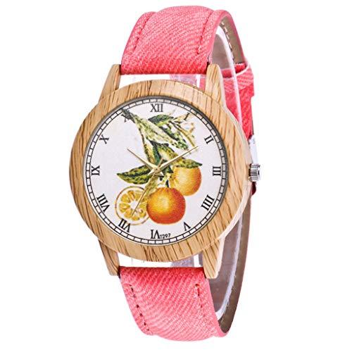 COOKDATE Uhren Fashion Cute Candy Farbe Damen Armbanduhr Kleid Uhr PU Damen-Armbanduhr mit Rosa