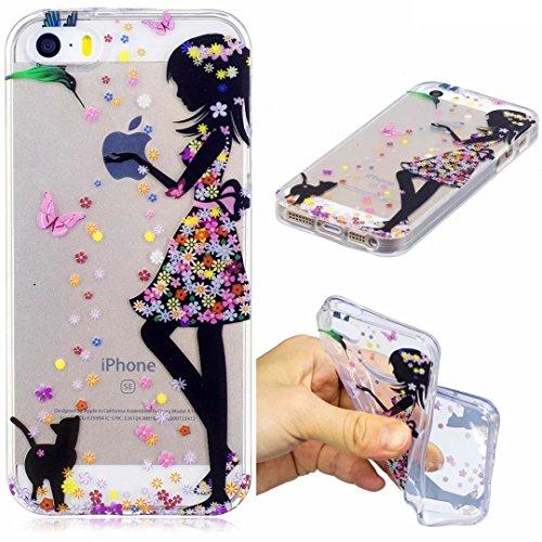 iPhone 5/5S/5SE Hülle Silikon Mädchen transparenter Ultra dünner TPU weicher handy hülle DECHYI Kunstmalerei Serie handyHülle iPhone 5/5S/5SE Mädchen (Iphone 5 Tier-fällen)