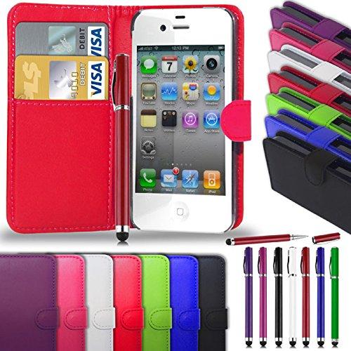 Apple iPhone 4S/4 - Leder Brieftasche Tasche Buch + 2 in 1 Stylus Pen + Screen Protector & Poliertuch ( Blue ) Hot Pink
