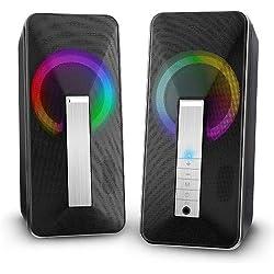 ELEGIANT 2 Haut-parleurs PC, Enceintes PC Bluetooth 10W Lumière LED Colorée Support AUX 3,5mm Dual Haut Parleur USB pour PC Téléphone Tablette Ordinateur Casque
