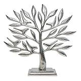 Skulptur Baum Aluminium Raw Silber Modern Landhaus Design Dekoration Dekofigur 42 cm