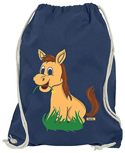 Einfach Zu Pferde Machen Kostüm Für - HARIZ Turnbeutel Süßes Pferd Frisst Gras Tiere Kindergarten Inkl. Geschenk Karte Navy Blau One Size