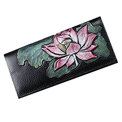 Gokiho vintage cuoio pringting cerniera borsa smartphone borse porta borsa porta carte di credito portafogli borse per donne (Golden Lotus) Loto rosso