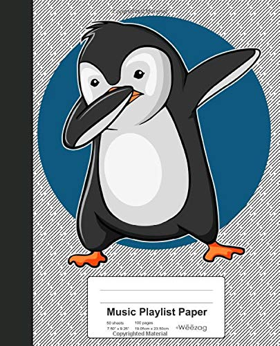 Music Playlist Paper: Book Dabbing Penguin (Weezag Music Playlist Paper Notebook, Band 10)