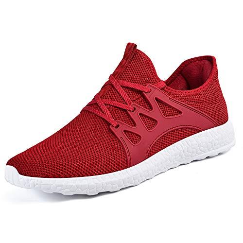 ZOCAVIA Herren Damen Sneaker Running Laufschuhe Sportschuhe rutschfeste Sneaker, Rot-weiß, 45 EU