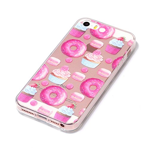 Coque pour Apple iPhone SE 5S / 5 , IJIA Transparent Coloré Fleurs TPU Doux Silicone Bumper Case Cover Shell Housse Etui pour Apple iPhone SE 5S / 5 XY19