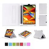 ISIN Custodia Tablet Serie Premium Pelle PU Stand Cover per Lenovo Yoga Tab 3 Plus e Tab 3 Pro 10.1 pollici Tablet con Cinturinoi in Velcro e Slot per Schede (Bianco)
