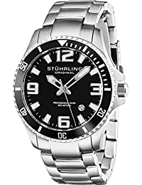Stuhrling Original Men's Quartz Watch with Black Dial Analogue Display and Silver Stainless Steel Bracelet 395.33B11