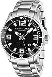 Stuhrling Original - 395.33B11 - Montre bracelet - Quartz - Affichage - Analogique - Bracelet - Acier inoxydable - Argent - Cadran - Noir - Homme