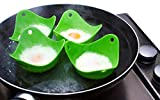 Egg Poacher , Set of 4 - Cooking Perfect Poached Eggs - Green Extra Thick Silicone Egg Poacher Molds - Replace Microwave Egg Poacher, Silicone Egg Ring -GAINWELL