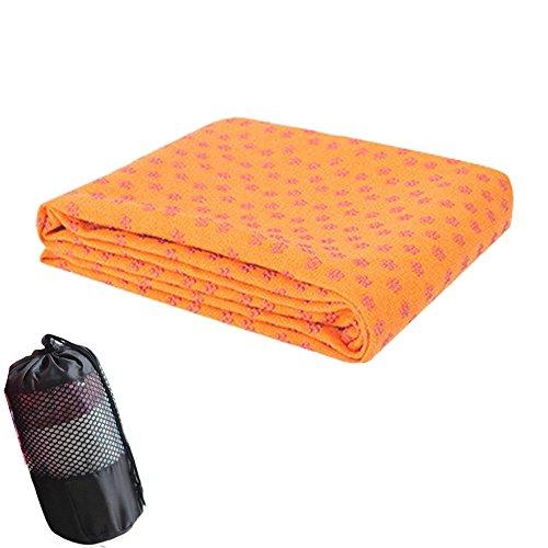verbreiterter 66cm Faser Yogamatte Handtuch mit mit Mesh Tasche Umweltschutz rutschsicheren Fitness Decke für Bikram, Hot Yoga, Fitness, Training, maschinenwaschbar, Orange