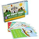 40 Baby Milestone Firsts Event Cards with Gift Box - Unisex Keepsake Box, Unforgettable Moment Age Markers - Girl Boy Newborn Illustration Photo Card - Baby Shower Present, Pregnancy Gift Set