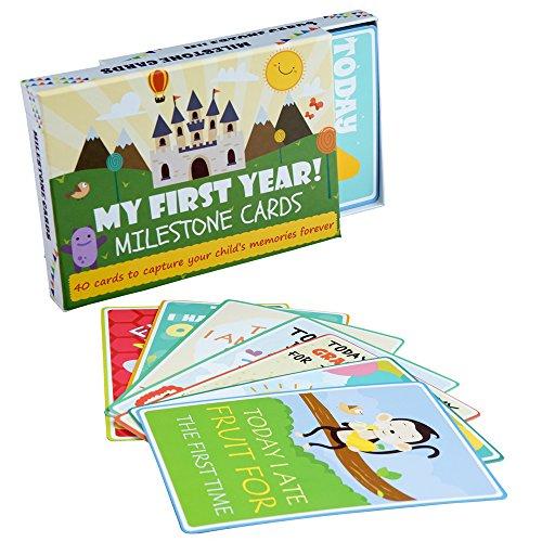 Baby Milestone Event Karten - Pack of 40 bunte illustrierte Karten mit schöner Geschenkbox (ENGLISH)- Perfekt für Baby Geschenk - Baby Dusche Geschenk (Erinnerung Baby-dusche)
