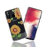 LittleBlack Samsung Galaxy A8s Hülle, Samsung Galaxy A8s Hülle mit Blumen, Dünn Stoßfest TPU Bumper Weiche Schutzhülle Flexible Silikon Skin Cover Case für Samsung Galaxy A8s, Sonnenblume