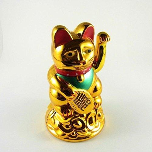 Starlet24 Glückskatze Winkekatze Glücksbringer Feng Shui Katze Maneki Neko (Gold, 11cm) (Katzen Shui Feng)