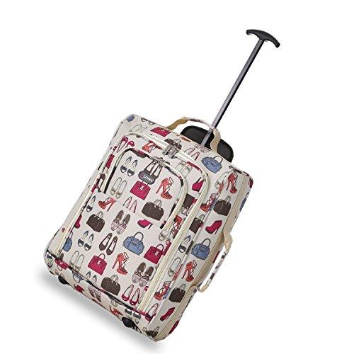 5 Cities Cabin Handgepack Leicht Trolley Taschen 42L (1 Stück, Taschen und Schuhe - Schwarz) Cremefarben