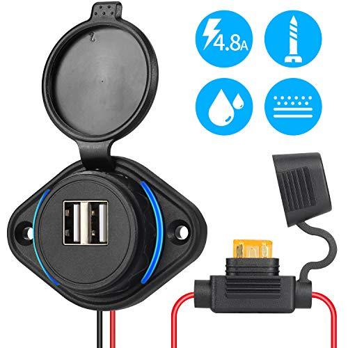 Rupse Presa USB per Auto, caricabatteria per Auto da Auto 5V 4.8A, Adattatore di Alimentazione Impermeabile 12V / 24V con Fusibile 5A LED Blu per Barca, Moto, Camion, ATV, Camper, Scoot
