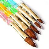 5 Pcs Round Sable Acrylic Design Nail Art UV Gel DIY Brush Pen Nail Art Tool Set No. 2/4/6/8/10
