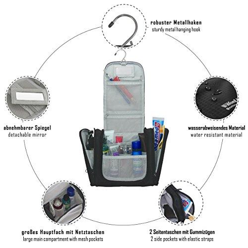 Kulturtasche zum Aufhängen mit Spiegel + Innentaschen für Herren, Damen, Kinder – Premium Reise Kulturbeutel wasserfest | Waschtasche Kosmetikbeutel | Koffer, Handgepäck, Outdoor | Männer Frauen