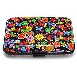 TOOGOO (R) Color del metal de aluminio caso la tarjeta de credito Identificacion de negocios titular de la cartera del monedero del bolsillo de la caja - Coloridas flores