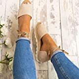 Women Summer Sandals HEHEM Women Fashion Leisure Ladies Flat Lace up Espadrilles Summer Chunky Holiday Sandals Shoes Size