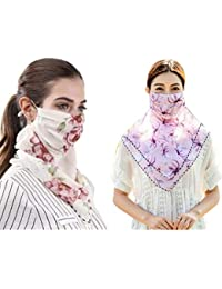 Shoppyana beautiful combo Rayon Cotton + chiffon Multi color scarf cum Mask (Random colour will be send) 2 pcs combo