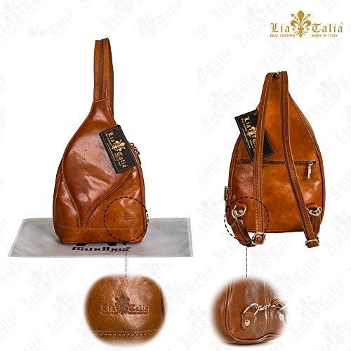 LiaTalia Niedliche kleine italienische Echtleder Cabrio Riemen Rucksack Schultertasche mit einer Schutztasche - Kim Rosa - Braun