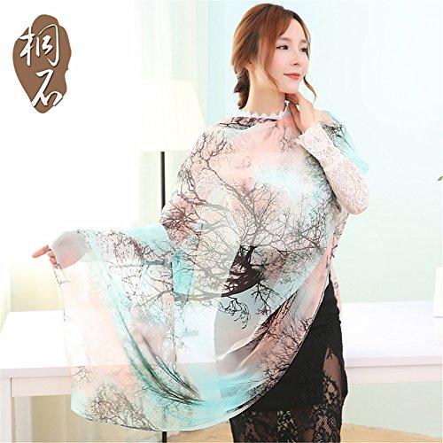 Foulard soie en mousseline de soie femme écharpe châle foulards et écharpes tous-match 180cm*110cm de l'écran solaire,207-1 324-1