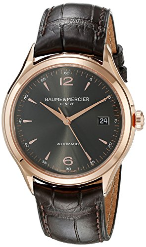 baume-and-mercier-clifton-grey-dial-18kt-rose-gold-brown-alligator-leather-mens-watch-moa10059