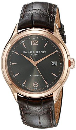 baume-und-mercier-clifton-grau-zifferblatt-18-kt-rose-gold-brown-alligator-leder-herren-armbanduhr-m