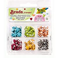 Folia Bringmann 12502 Patterned Brad Pins Assorted Shapes Pack of 120