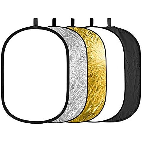 Neewer 88008128 - Kit oval reflector/difusor plegable para iluminación fotográfica 5 en 1 portátil, 24 x 36
