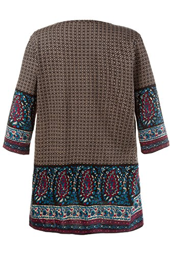 Ulla Popken Femme Grandes Tailles Robe Longues Manches T-Shirts Tops à Manches Courte Casual Robe Basique T-Shirt Tops Mini Robe 711420 Multicolore